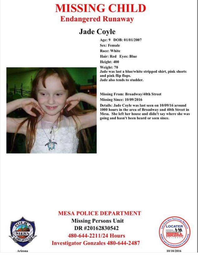 Jade Coyle, 9-year-old, Missing Since October 9, 2016 - Mesa, AZ CuazW3QUAAE67hO