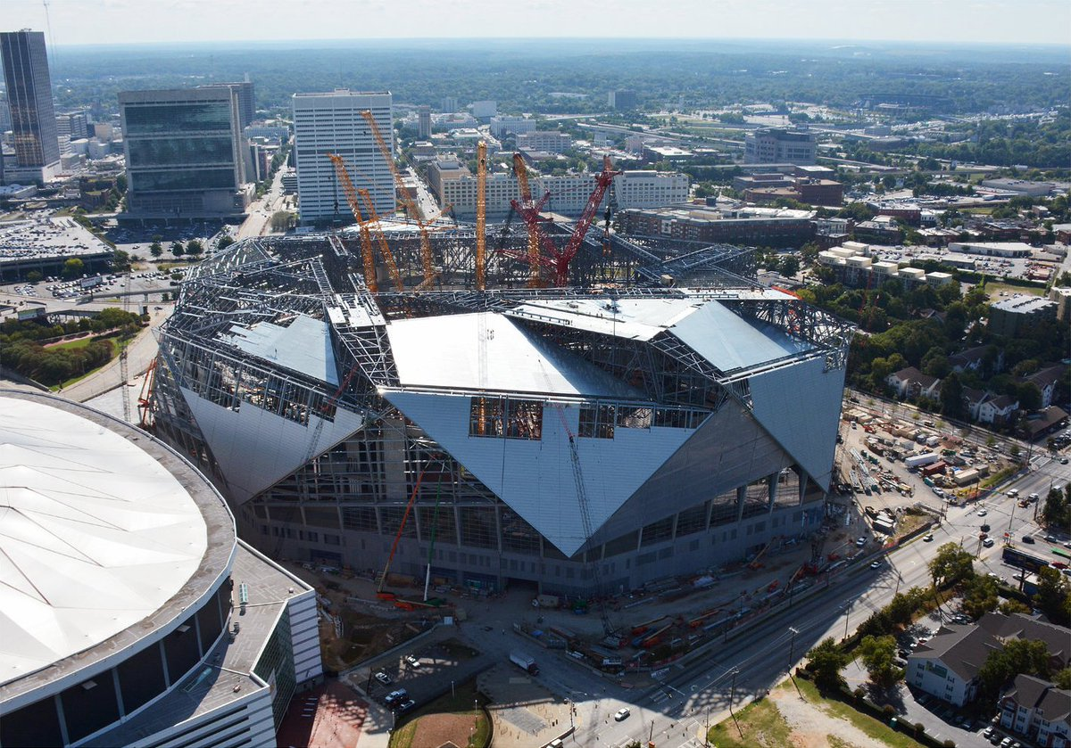Photo future home of sec championship game taking shape for Who owns mercedes benz stadium