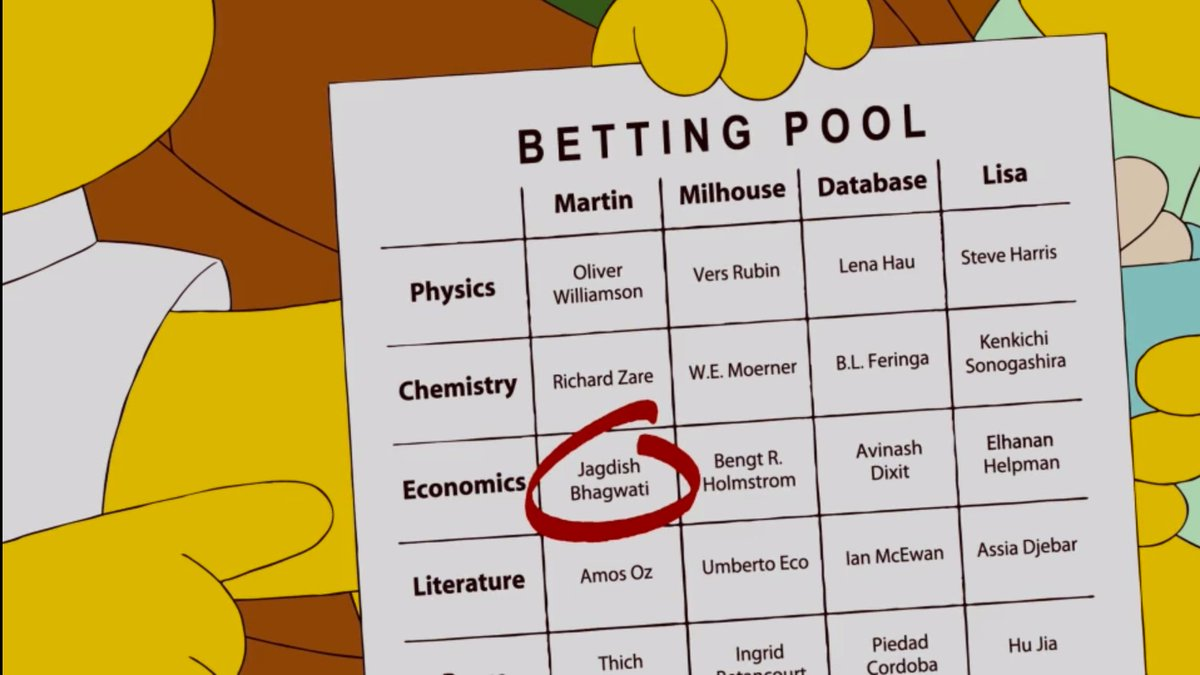 Fun fact: @TheSimpsons' Milhouse once predicted MIT Prof. Holmström would win a #NobelPrize. Today, he was right!…https://t.co/CC0LRk1avy https://t.co/Vj9URDBeH1