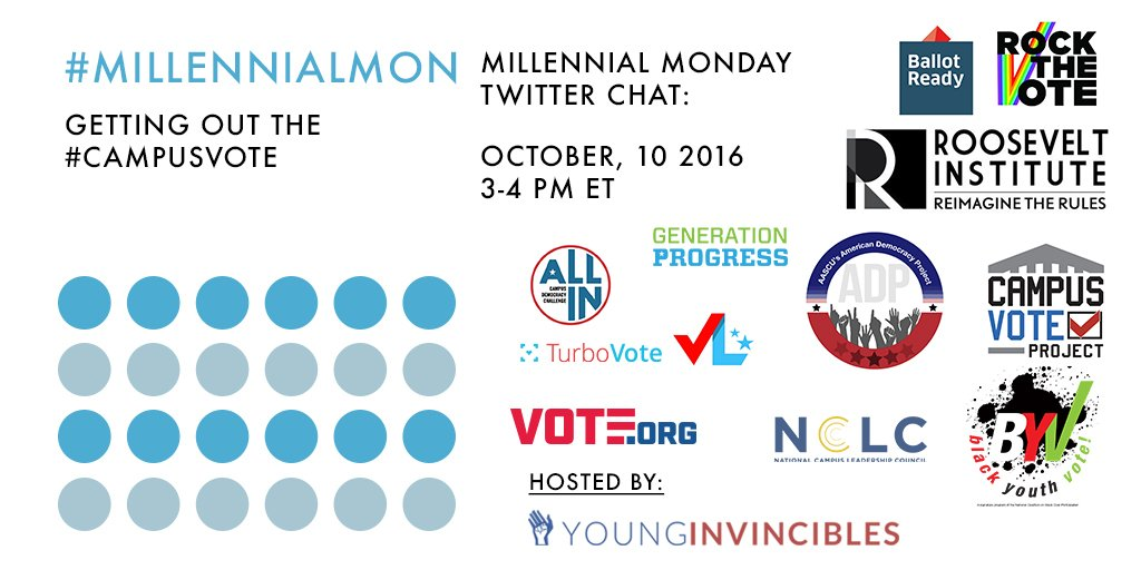 Welcome to #MillennialMon! Today's topic: Getting out the #CampusVote https://t.co/CanYS25krT