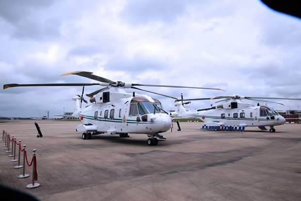 President Muhammadu Buhari has donated two presidential helicopters to the Nigeria Air Force [NAF] as recession lingers. See the attached pictures: