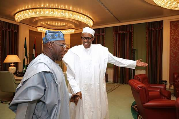 President Muhammadu Buhari played host to former President Olusegun Obasanjo, GCFR, at the State House, Aso Villa, on Monday in a closed door meeting.