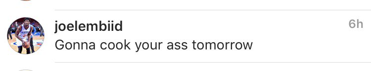 The Grizzlies play the 76ers tomorrow. Joel Embiid left this comment on Chandler Parsons' instagram.