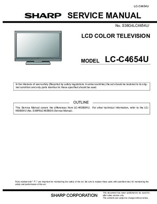 sharp lc c3234u manual free owners manual u2022 rh wordworksbysea com sharp refrigerator repair manual sharp parts manual
