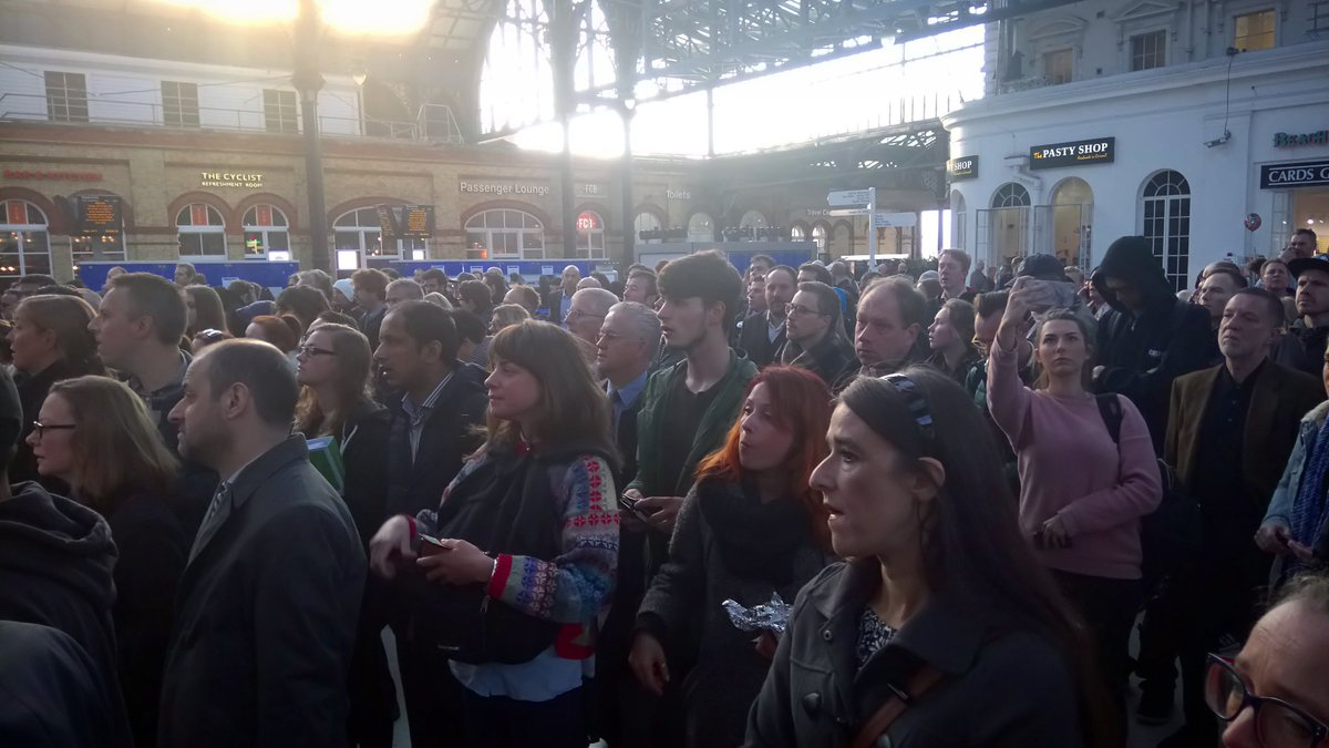 Rail strikes started. Crowds at Brighton & all the gates were shut. Frustration + Little Information #southernfail https://t.co/s1gtWGmuTE