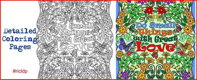 "Printable ""Do Small Things with Great Love"" flower design coloring page for Grown-ups"
