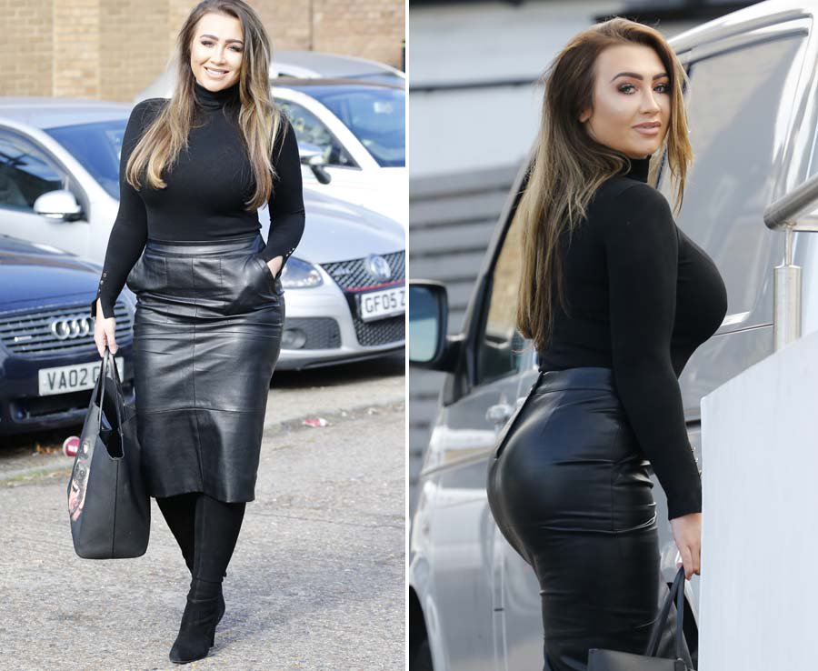 413039a2b59075 Sexy @LaurenGoodger flaunts her curves in tight leather skirt ...