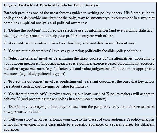 write my policy paper With concrete steps for writing policy papers and checklists for planning, writing and disseminating policy projects, this is a very valuable guide that will affect decision making at the policy level.