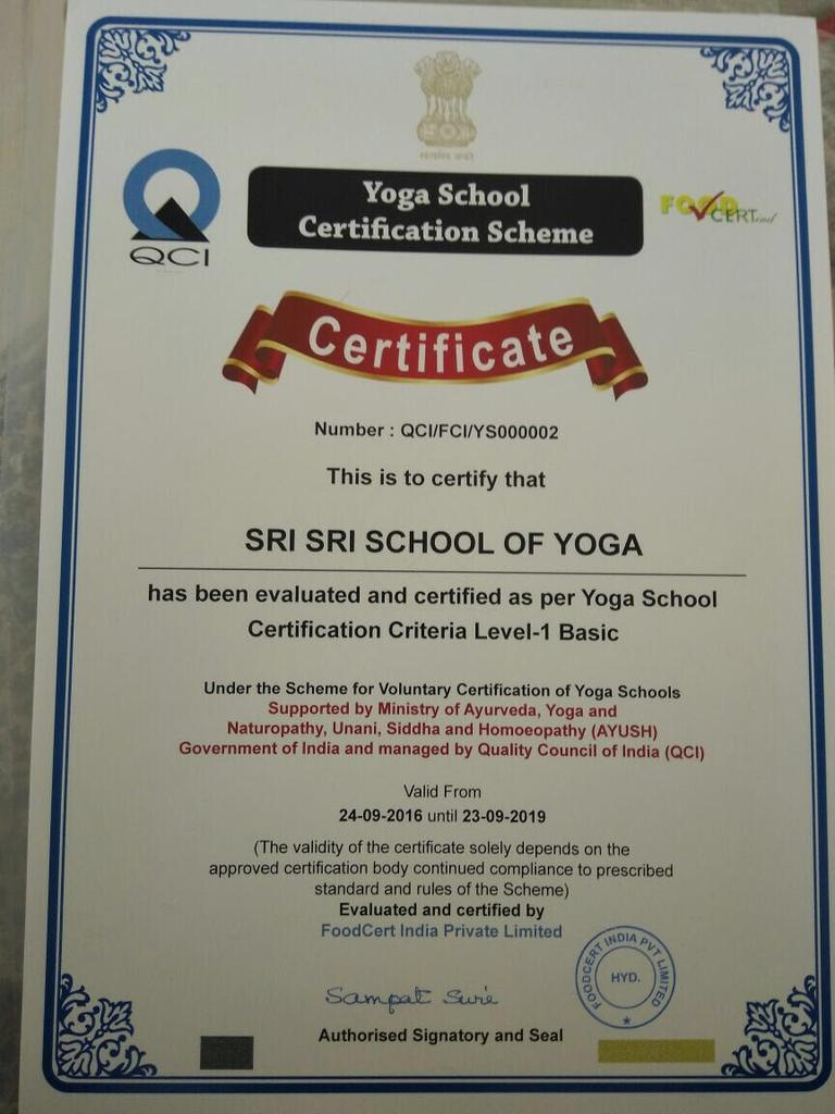 The art of living on twitter sri sri school of yoga is now sri sri school of yoga is now certified under yoga school certification scheme supported by moayush quality council of indiapicitter8ws9wfry2u 1betcityfo Image collections