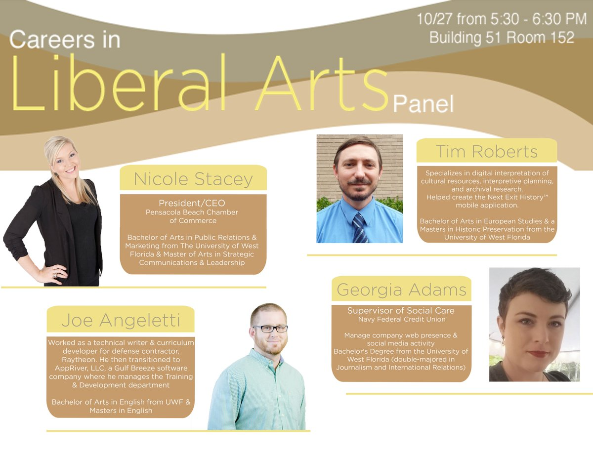 uwf career services on meet the careers in liberal arts uwf career services on meet the careers in liberal arts panelists out what jobs are out there for liberal arts majors