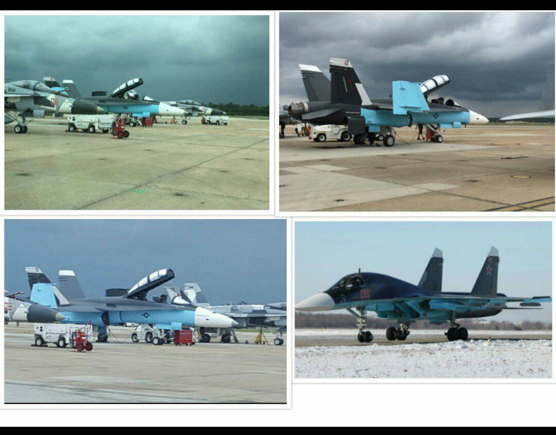 the us is painting their fa 18s to match the paint schemes of russian jets in syria standard training but interesting nonetheless