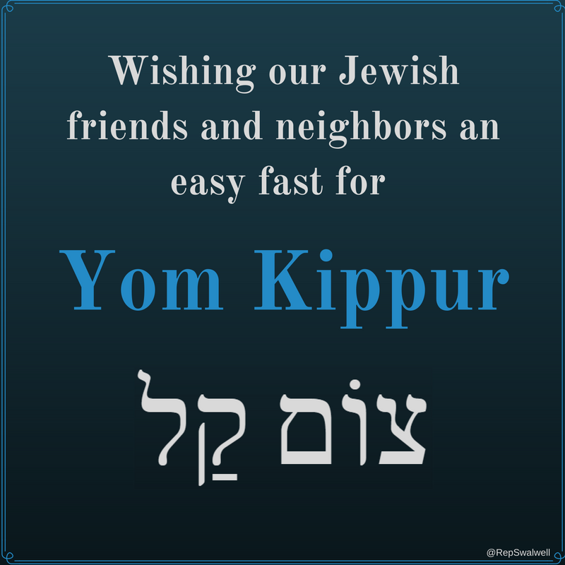 """Wishing our Jewish friends and neighbors a """"tzom kal"""" – an easy fast – on #YomKippur, the Day of Atonement. https://t.co/CSK5SHGggZ"""