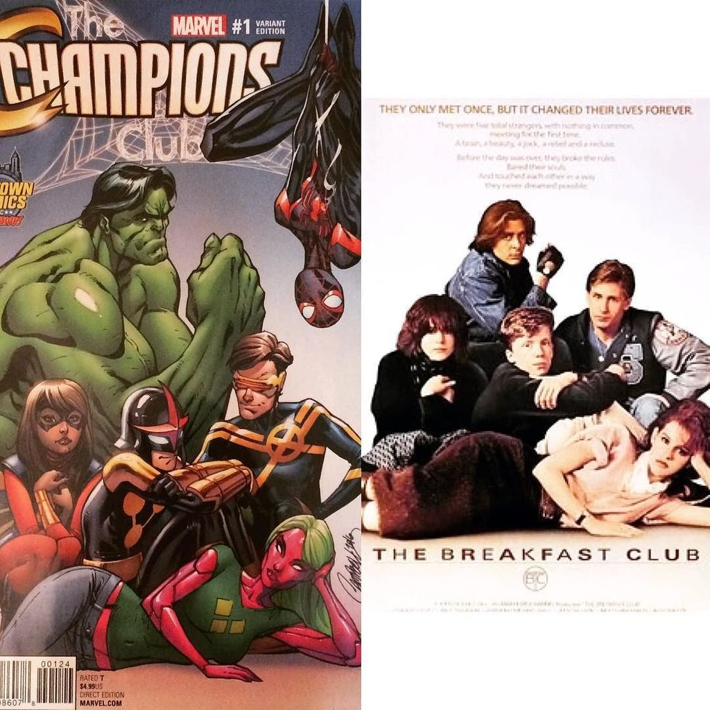 #Marvel's #Champions No.1 variant by @JScottCampbell is a #BreakfastClub homage. https://t.co/q8OOwSs4vd https://t.co/vMuqAauta1