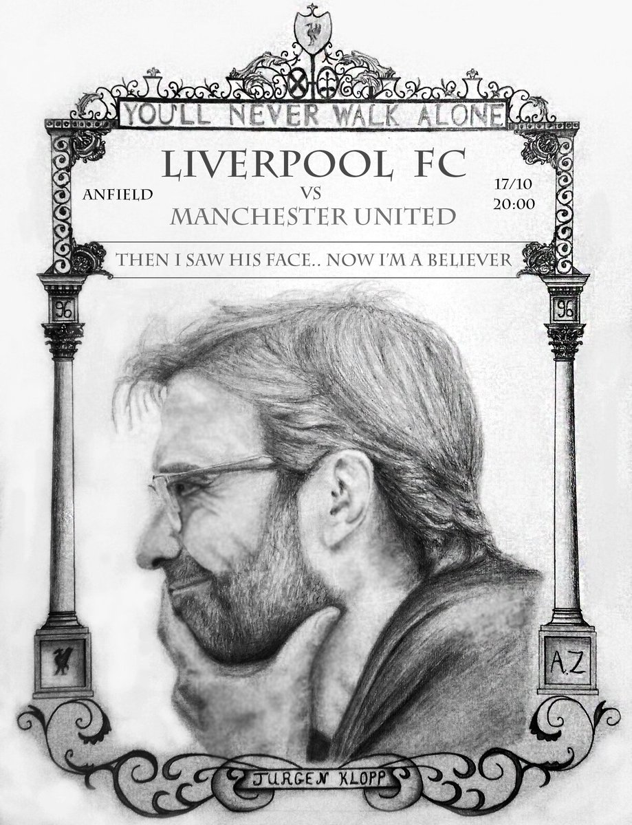 #MyLFCMatchdayImage Inspired by The Shankly Gate, my pencil drawing features Jurgen Klopp, the man who marks a new @LFC era! #BELIEVERS