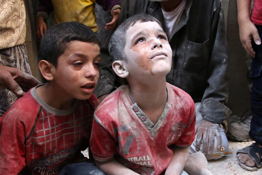 These 2 children in east Aleppo - one lost all his siblings, the other's family were in the emergency rooms yesterday