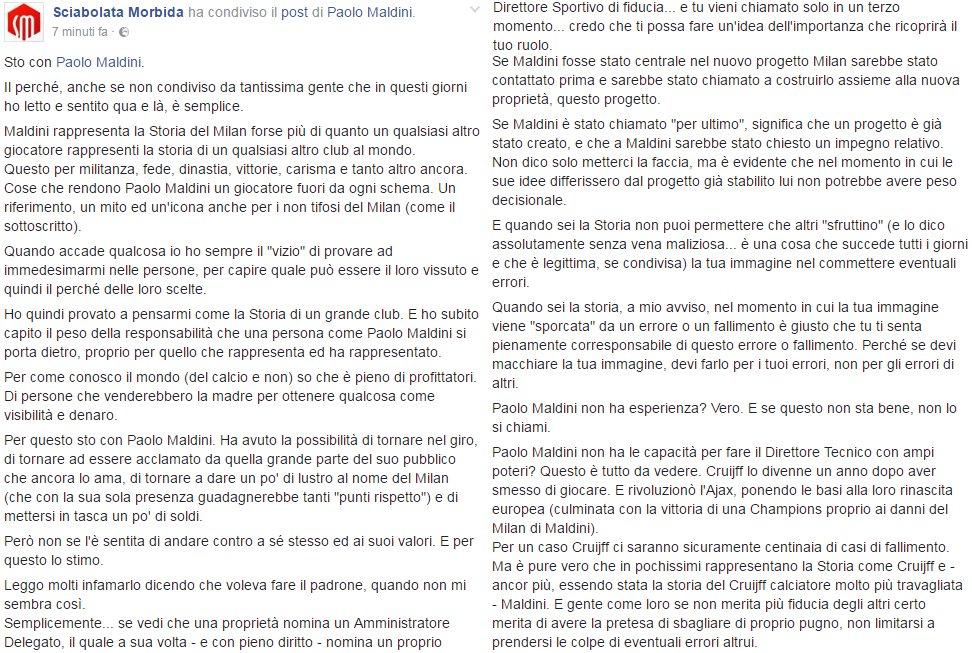 La mia opinione su Paolo Maldini