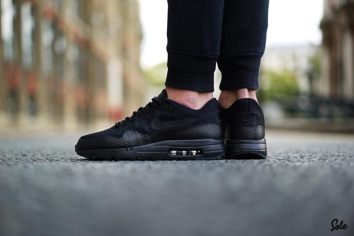 2f235cfd58a Here s an on foot look at the Air Max 1 Ultra Flyknit Triple Black. You ve  seen it first here! ...