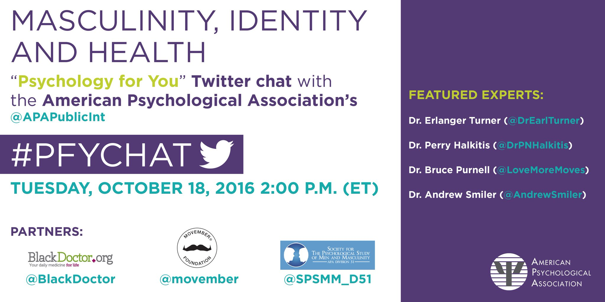 """Please join us - Oct 18 at 2PM (ET) for the #PFYchat on """"masculinity, identity & health"""" with ptnrs @BlackDoctor, @Movember and @SPSMM_D51 https://t.co/WmJ3qxoKi1"""