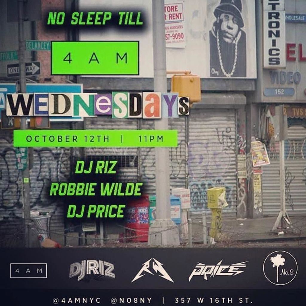 Tonight @4amnyc Wednesday's with the fellas @robbiewildeofficial @djpriceny at @no8ny #4am… https://t.co/8GdOsDmfLL https://t.co/Mr2RNkfVD2