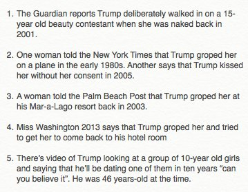 Here's a list of—I think—all the Trump allegations from the past 24 hours