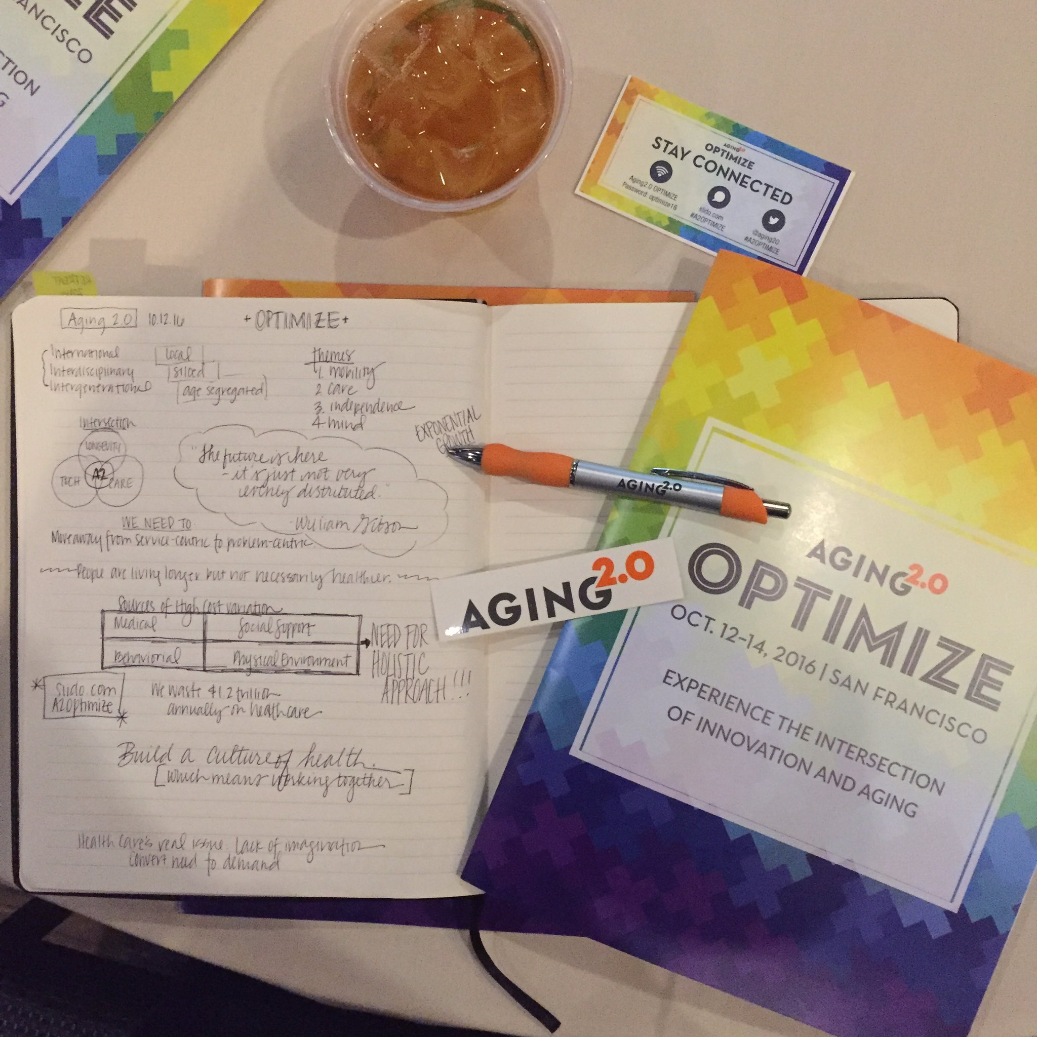 There's so much happening and being gathered here @Aging20. #A2OPTIMIZE Thanks #Aging20 team! https://t.co/gPv7fOJgyb