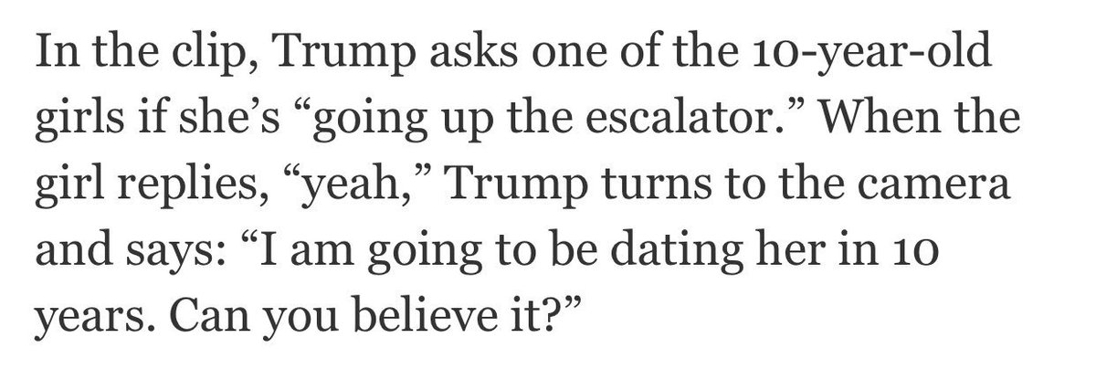 In 1992 footage, Donald Trump looks at a group of 10 year old girls, and says, I'll be dating them in 10 years.… https://t.co/WoNFWdBX1P