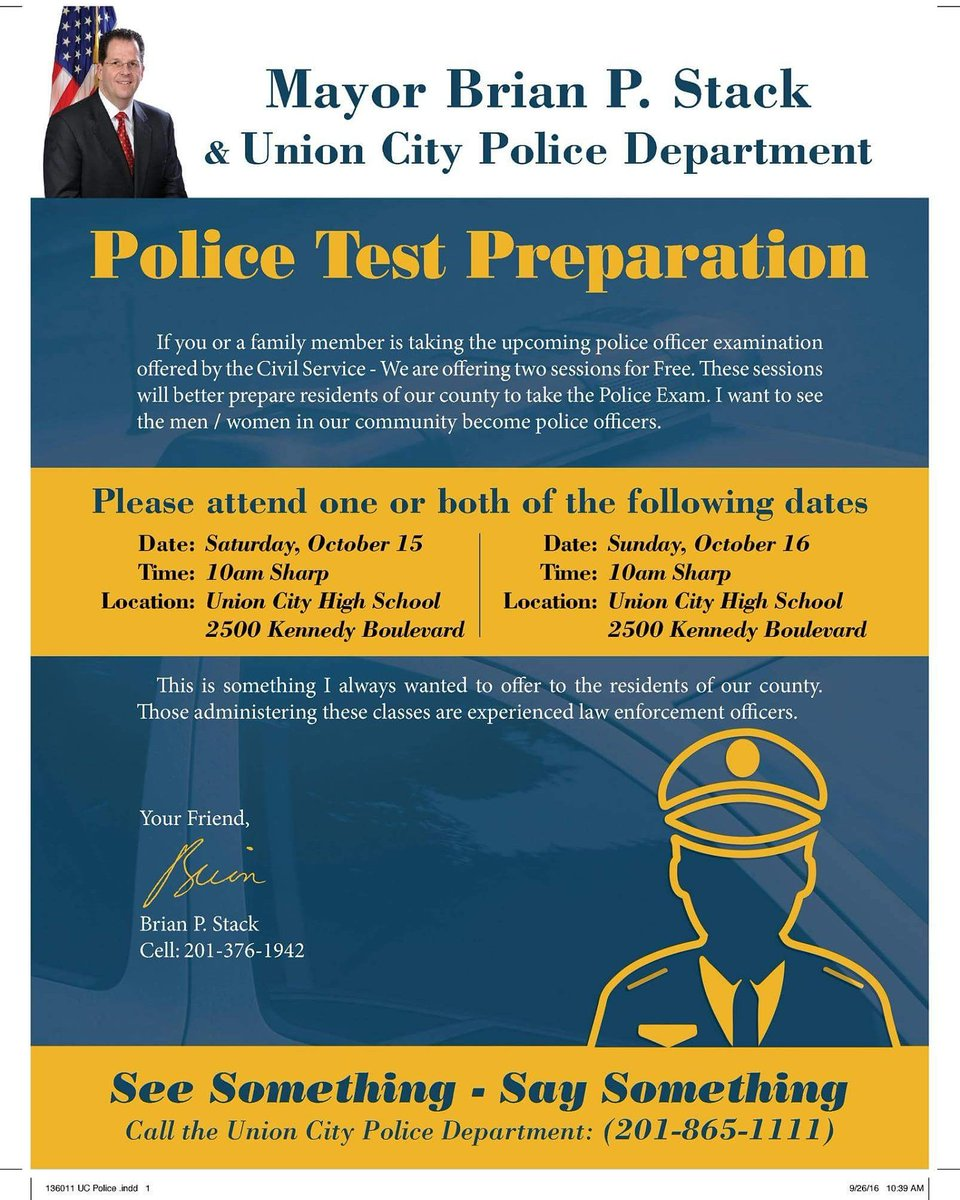 """Top Cop Inc. on Twitter: """"Free seminar on this year's NJ Civil Service Law  Enforcement Exam offered by Mayor and Senator, Brian P. Stack."""