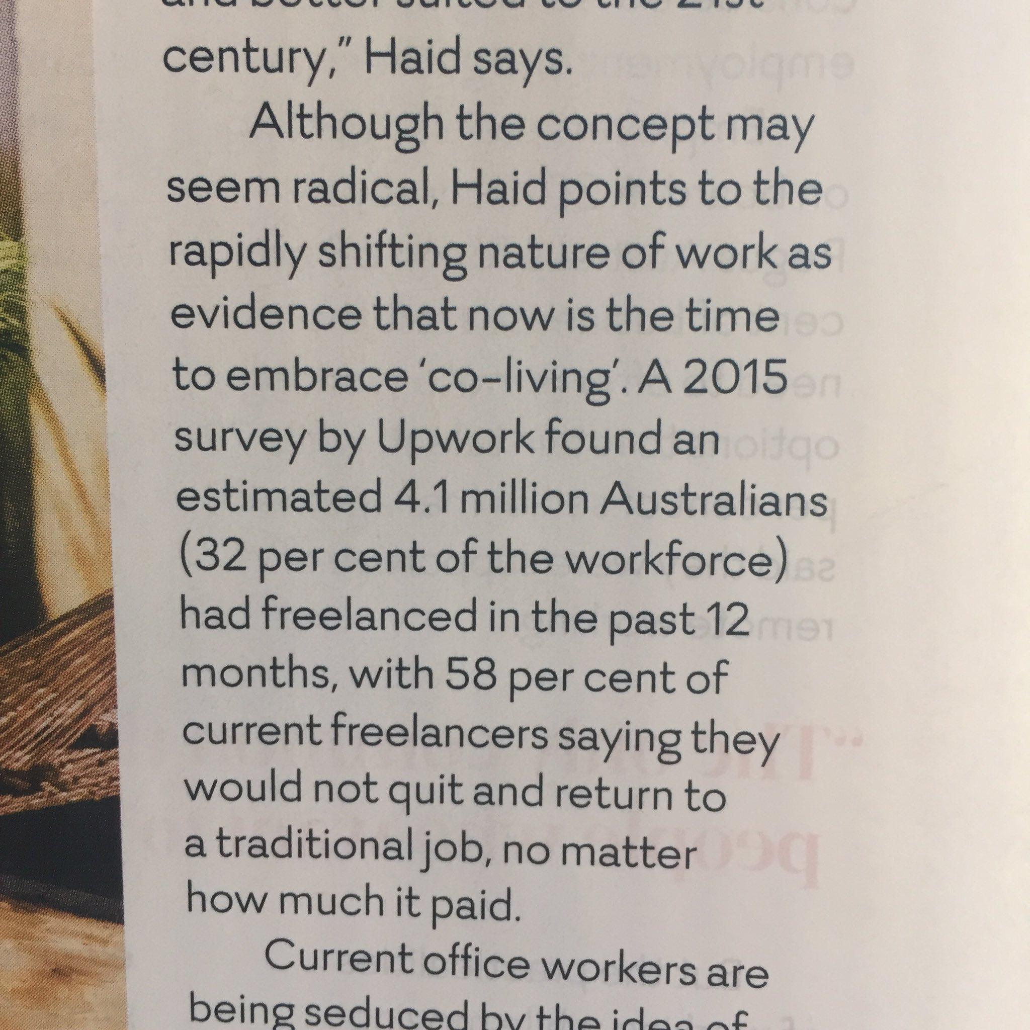 Interesting Upwork survey results in article from Virgin Australia in flight mag. https://t.co/AVVrZsl4rw