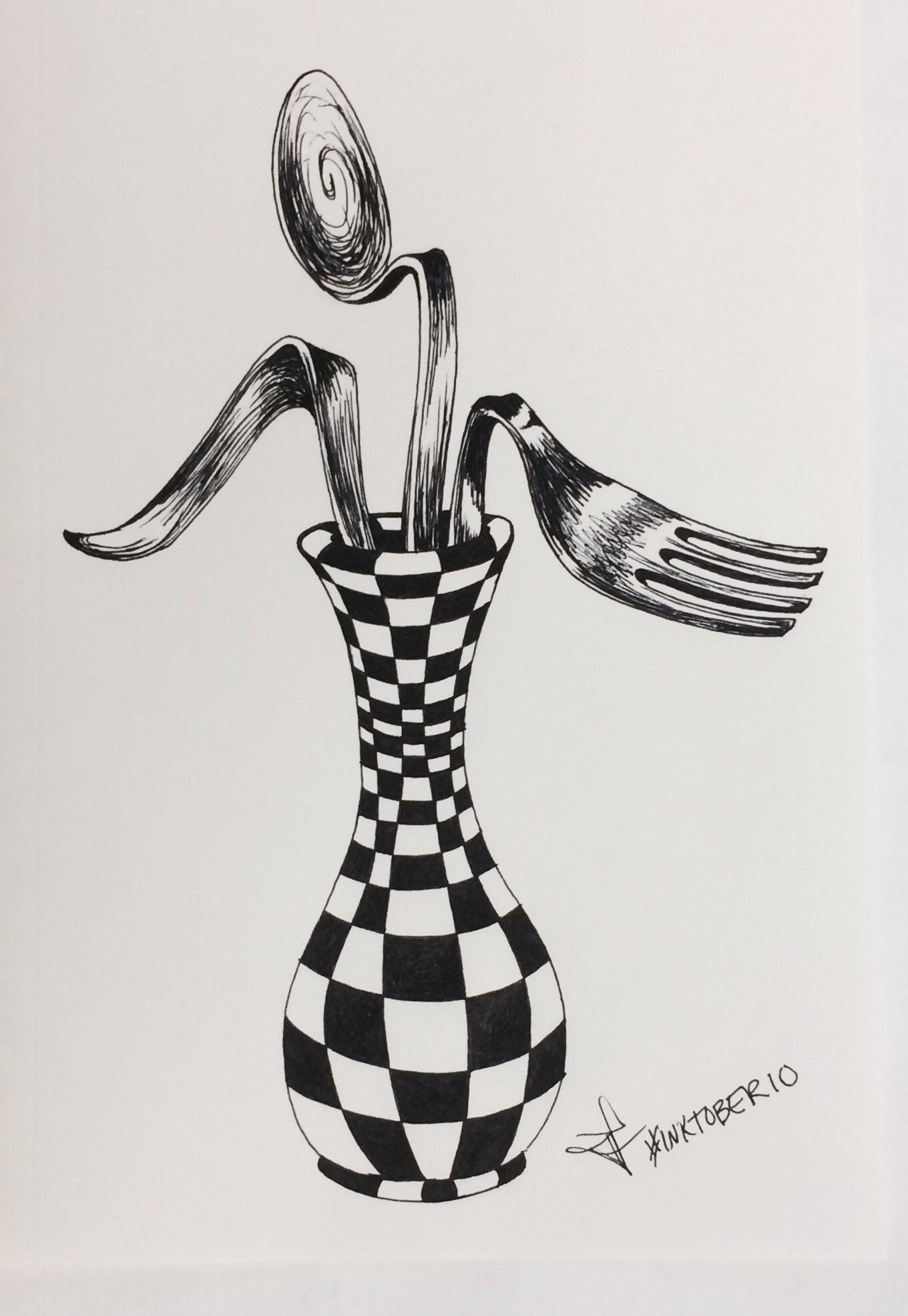 Day 10 #inktober is a silverware bouquet...#blackandwhite #surrealism #sketch https://t.co/UfMNVcMQzF