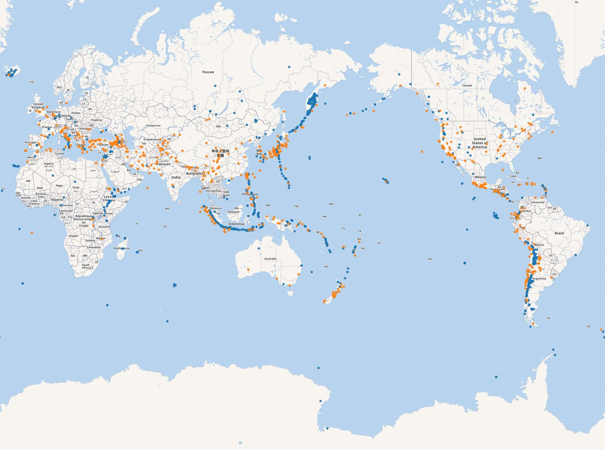 A world map centered around the Pacific