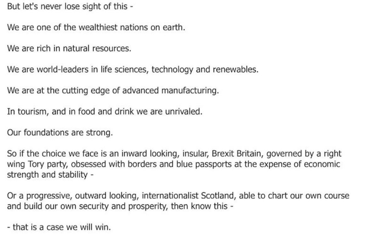 .@NicolaSturgeon's closing paras lay out the narrative for #indyref2. Expect this to be repeated & repeated. https://t.co/nbkm3y9lgK