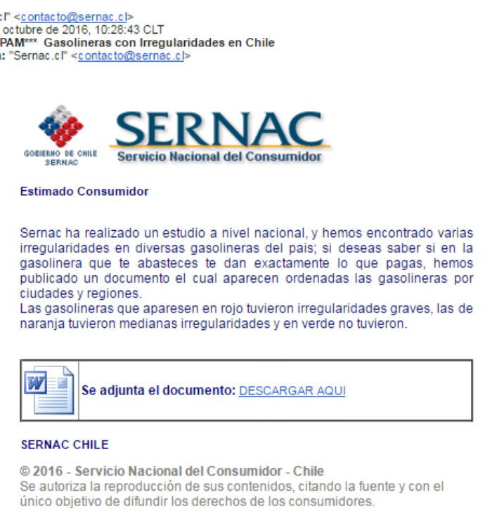 "Advertencia! Está circulando falso mail del Sernac. Asunto es ""gasolineras con irregularidades en Chile"". No abrir https://t.co/YeIHDUhUN4"
