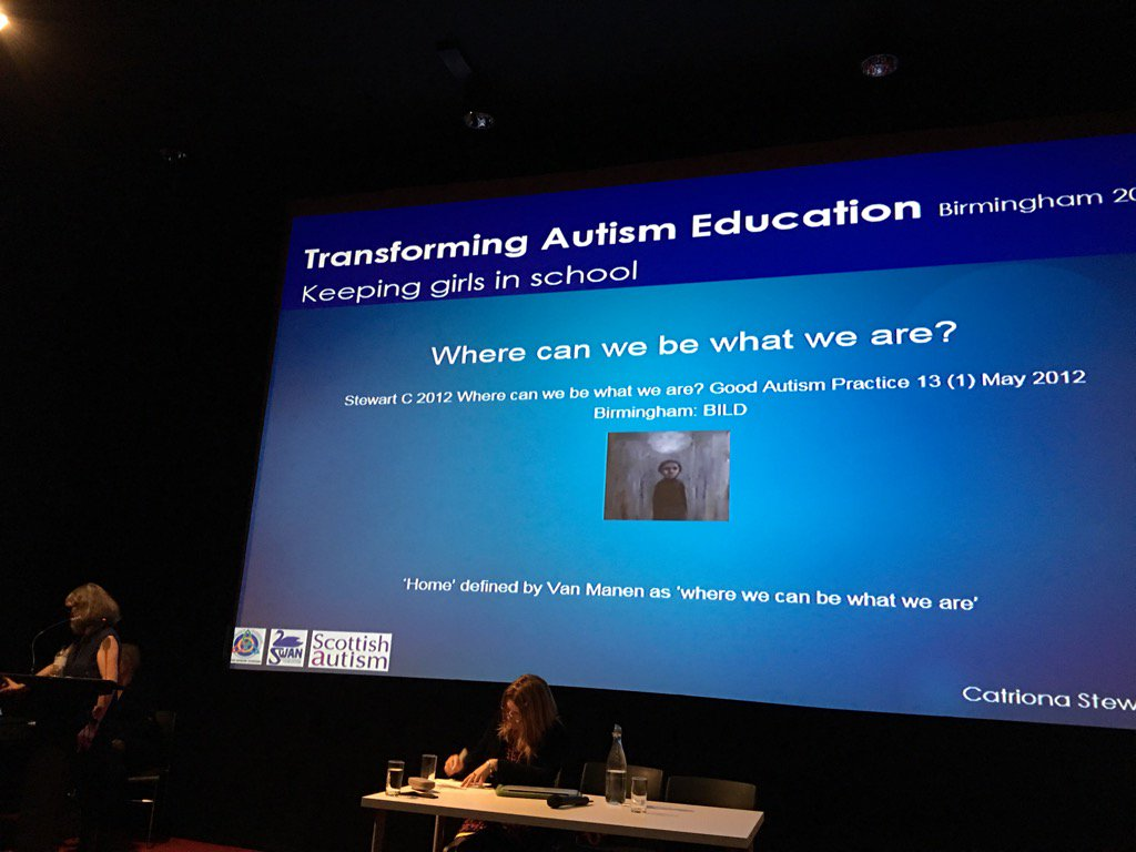 @CatrionaSScot talking at #transformingautismeducation about why girls w autism feel school is not good 4 them https://t.co/UINQmmldZD