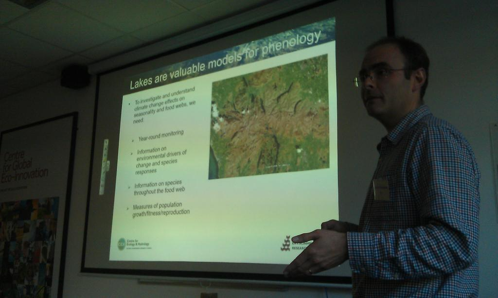Great talk @SteveThackeray #phenology + importance of #monitoring #lakes to study #ecological processes #CumbLakeRF https://t.co/w7TRWVPa8w