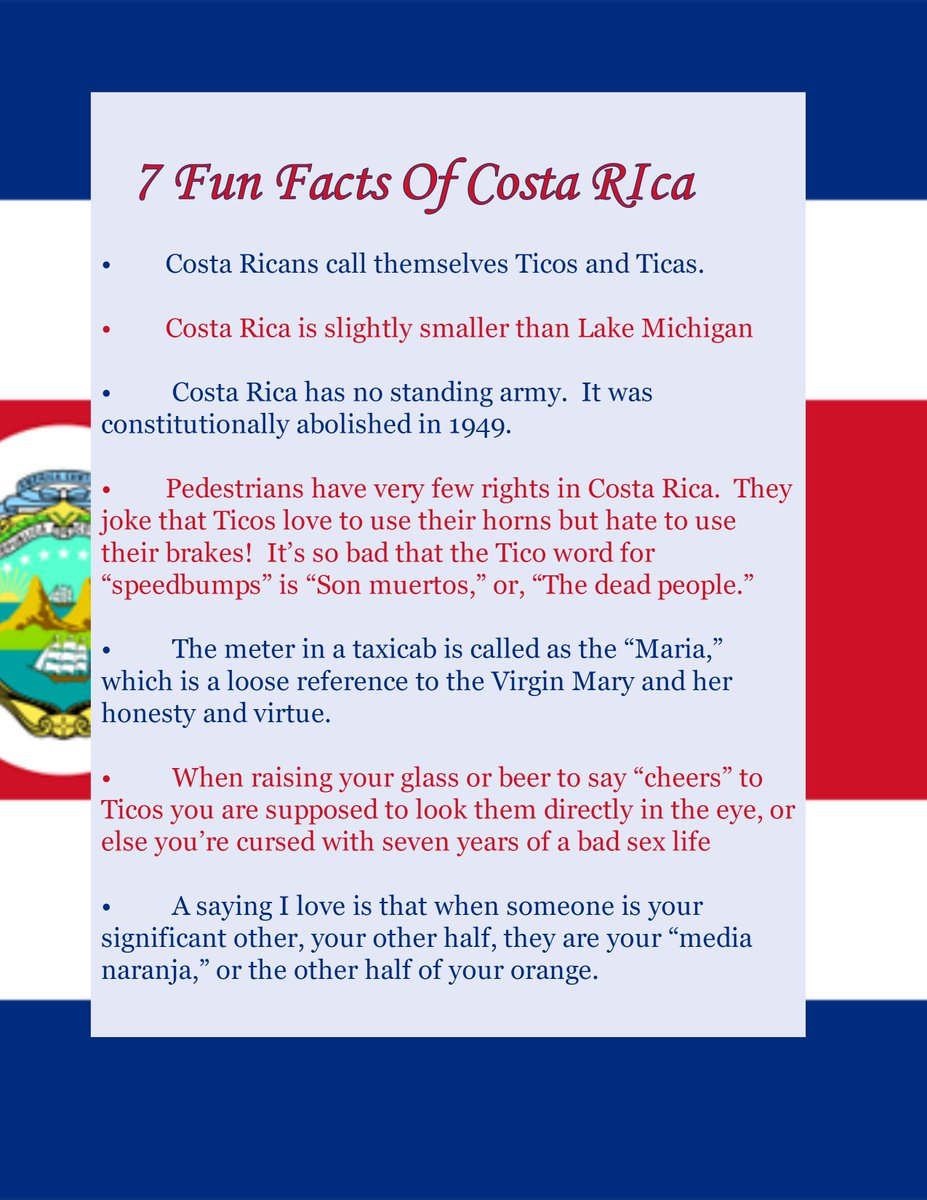 facts about costa rica Generally speaking, costa rica is a relatively homogenous society, but the caribbean province of limon is home to thousands of afro-costa ricans who observe the culture and traditions of their jamaican ancestors.
