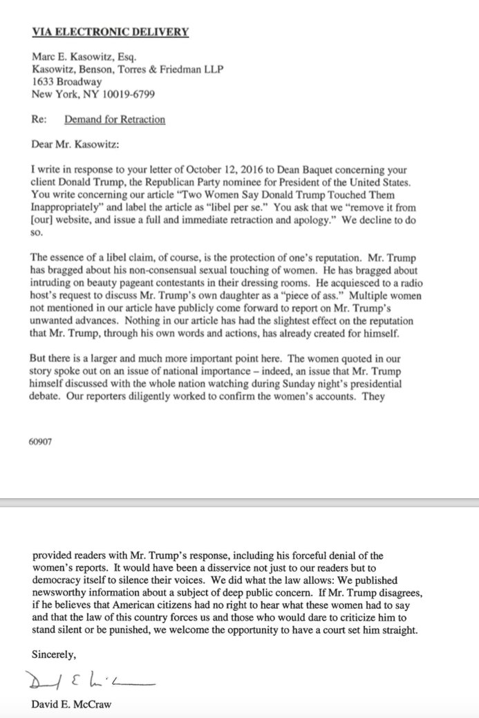 The @nytimes's Response to @realDonaldTrump's Retraction Letter https://t.co/zyJxjmPcnw https://t.co/SRZcpTuUSC