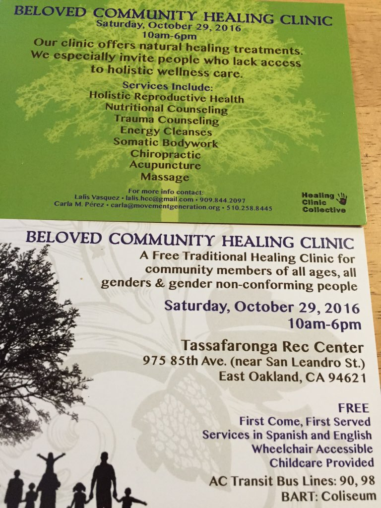 Free Traditional Healing Clinic @ Tassafaronga Rec Center | Oakland | California | United States