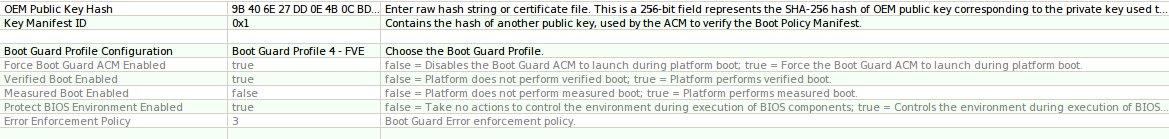 Bootguard Profile in the FIT tool