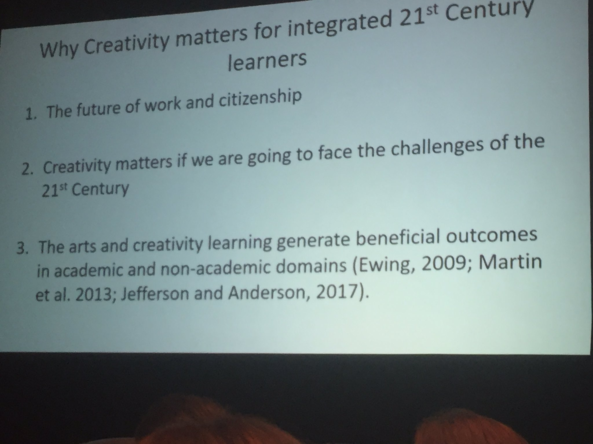 Why creativity matters for integrated 21st C learners - slide from Michael Anderson  #acsasym https://t.co/6sSoHVuNuh