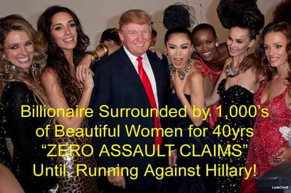 Billionaire Sorrounded by 1.000's of Beautiful women for 40 years ZERO ASSAULT till Running against Hillary https://t.co/kFgEOuhruS