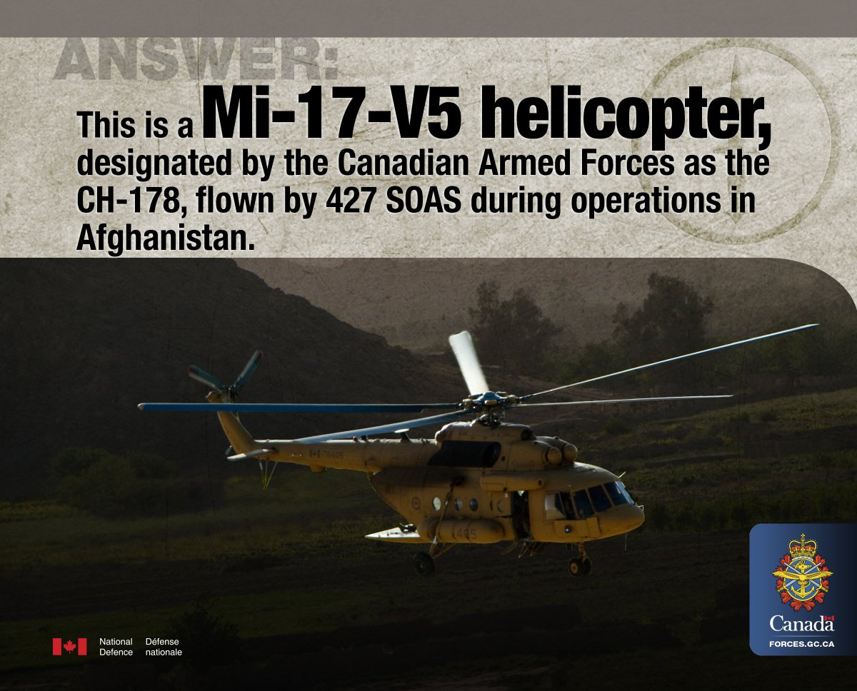 canadian forces on the answer to yesterday s quiz the canadian forces on the answer to yesterday s quiz the mi 17 v5 helicopter was flown by 427 soas in