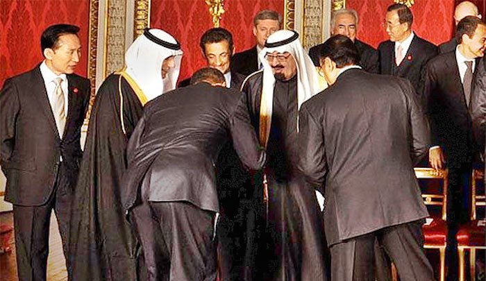 "Ali AlAhmed on Twitter: "".@realDonaldTrump @KellyannePolls use this line against #Obama ""I do not bow to anyone like you bow to racist Saudi king"" Obama bows 2 Saudi… <a href="