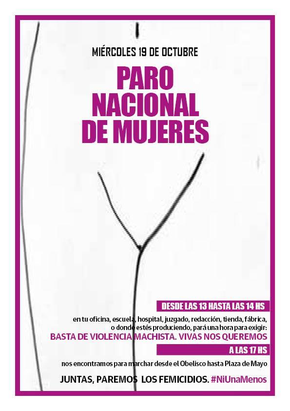 Paro Nacional de Mujeres. Basta de violencia machista. 19/10 de 13 a 14 horas. #Argentina https://t.co/NflAkRliWg