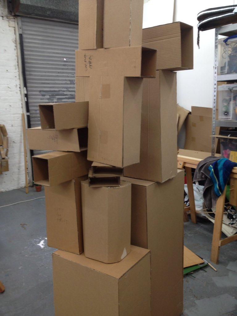 Making lots of different size versions of #TheIronMan for @Unicorn_Theatre #cardboard #homemade #theatre #art #southwark #tedhughes https://t.co/MbSOw0Uxrc