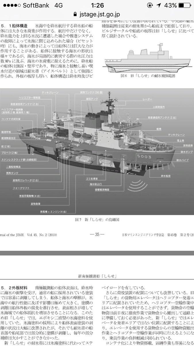 喫水下の艦首は砕氷のために結構エキセントリックな構造してるんだなぁと。あまり気にしたことなかったけど https://t.co/A9cOLO1jxu