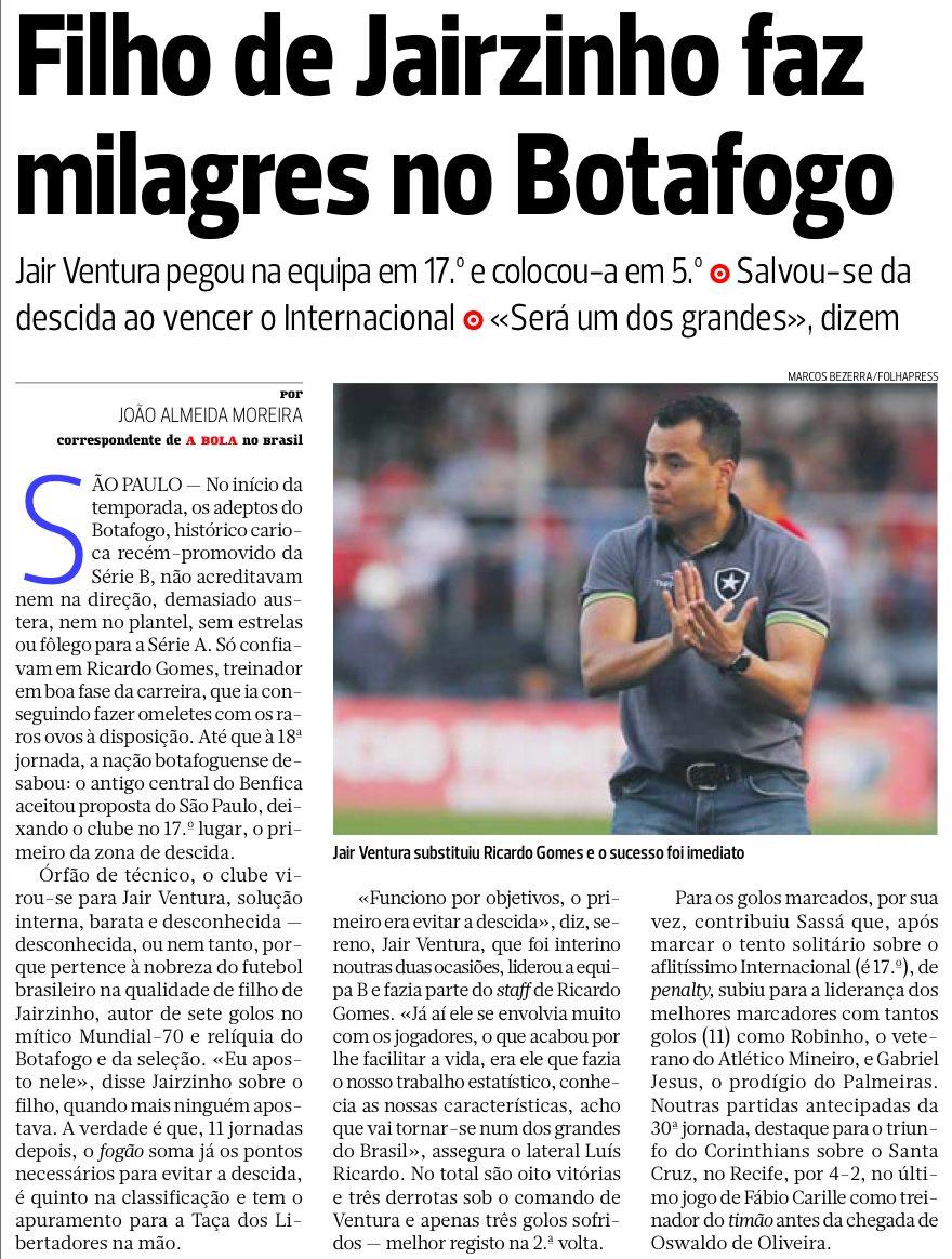 "Botafogo: Até jornal português rende-se ao glorioso ""milagre"" alvinegro"