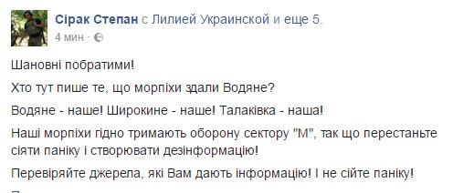 Боевики не занимали позиций у Водяного на Мариупольском направлении, - пресс-офицер Киндсфатер - Цензор.НЕТ 1114