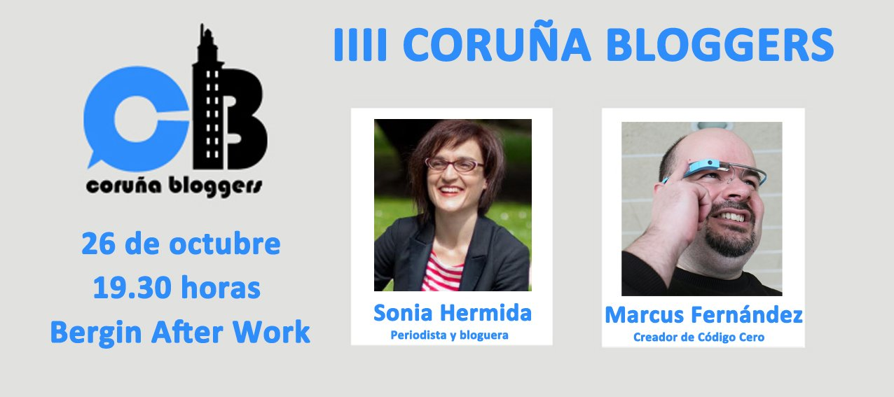 Los dos ponentes del próximo #CoruñaBloggers son Sonia Hermida, periodista y autora de @omundoaoreves  y @marcusfernandez  de @codigocero https://t.co/BecJ1yJIet