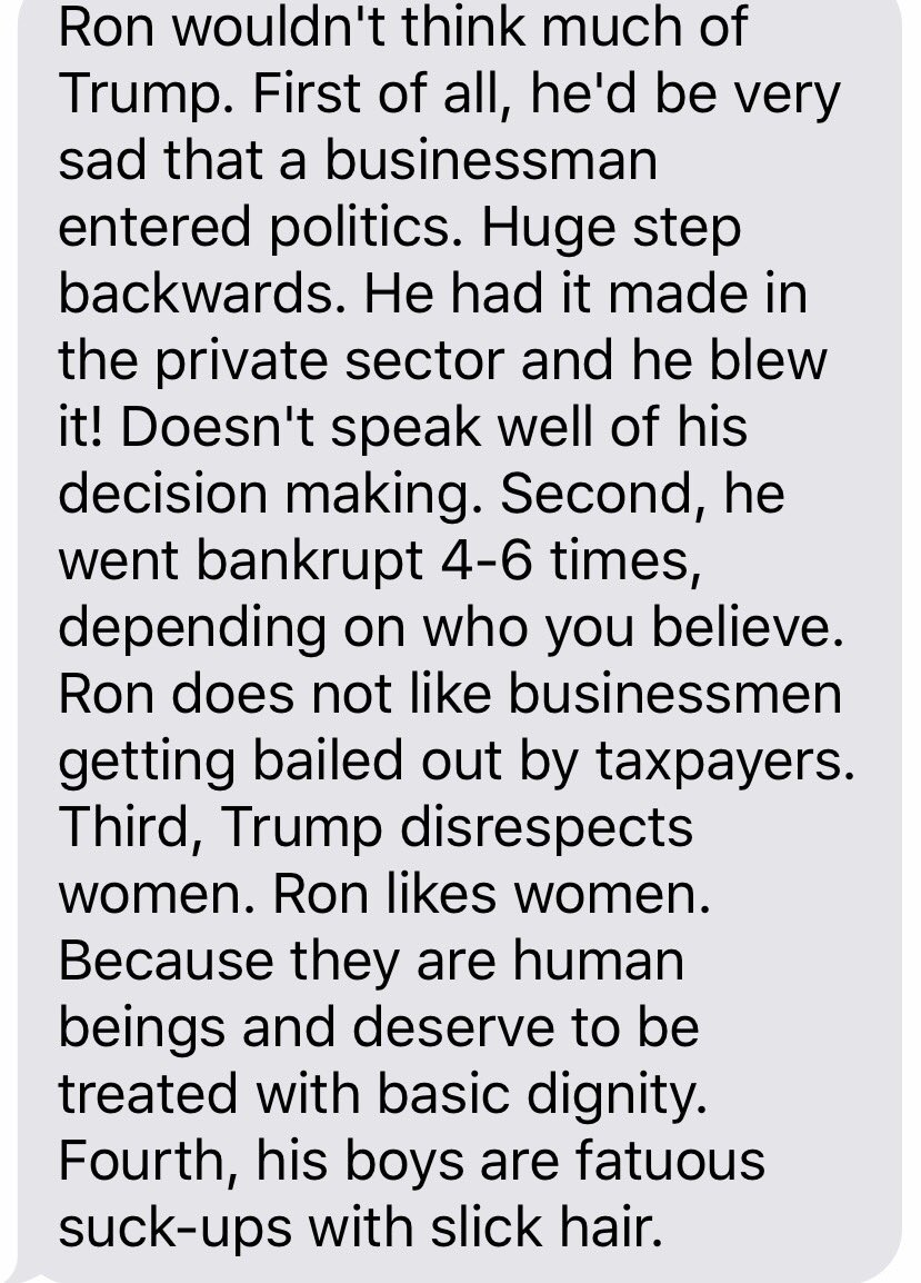 I am frequently asked how Ron Swanson would weigh in on this election. I was able to contact a source close to Ron… https://t.co/dUkTA5XLKR