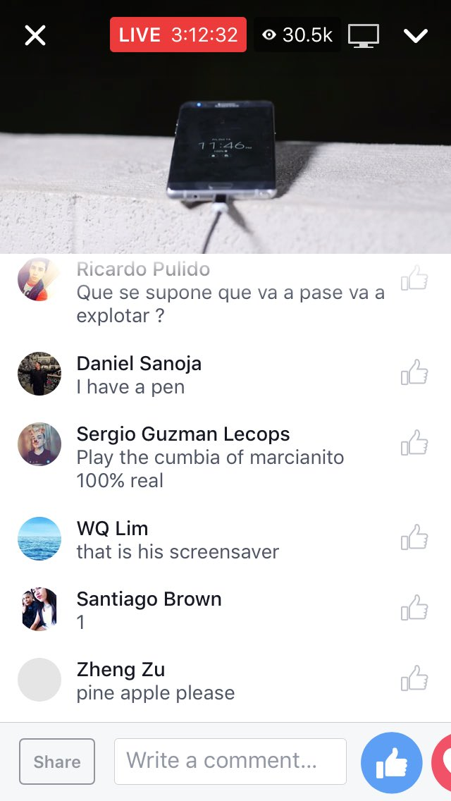 30,000 people watching a live Facebook video of ... a Galaxy Note 7 charging.